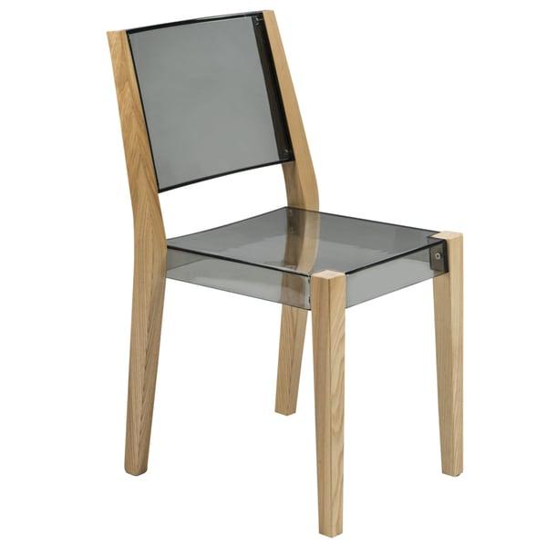 Somette Barker Modern Polycarbonate Transparent Black Chair with Wooden Frame
