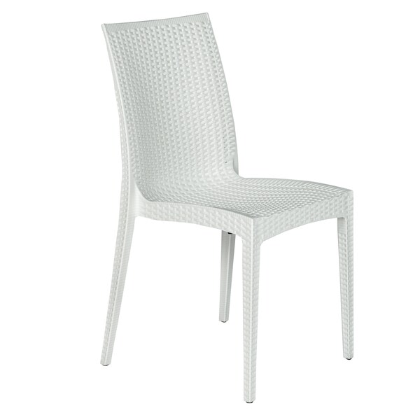 Somette Mace Modern Weave White Indoor/ Outdoor Dining Chair