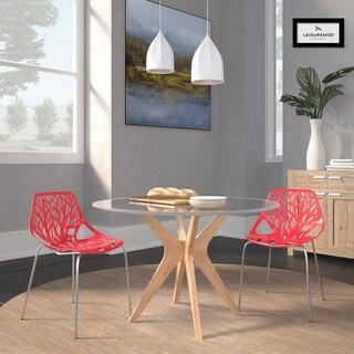 LeisureMod Asbury Red Open Back Chrome Dining Side Chair Set of 2