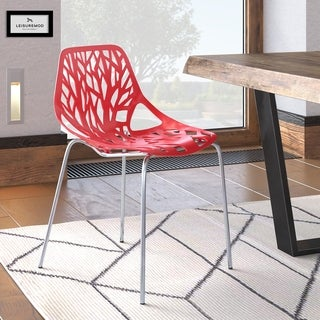 LeisureMod Asbury Red Open Back Chrome Dining Side Chair