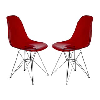 Cresco Molded Eiffel Side Chair in Transparent Red (Set of 2)