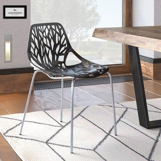 LeisureMod Asbury Black Open Back Chrome Dining Side Chair