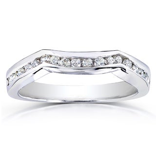 Annello 14k White Gold 1/4ct TDW Diamond Ladies Contoured Wedding Band (H-I, I1-I2)