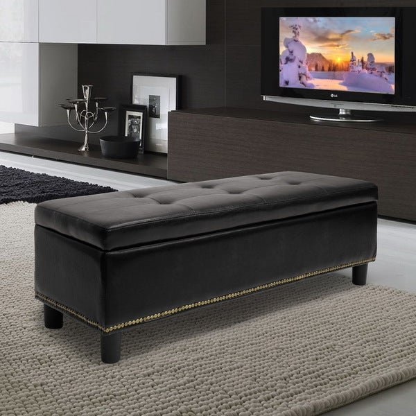 Baxton Studio Lucero Bonded Leather Storage Black Ottoman