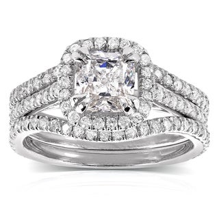 Annello 14k White Gold 1 3/4ct TDW Cushion-cut Halo Diamond 3-piece Bridal Set (H-I, I1-I2)