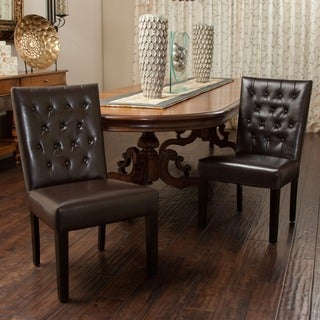 Christopher Knight Home Lola Leather Dining Chair (Set of 2)