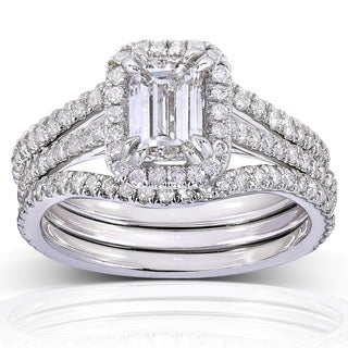 Annello 14k White Gold 1 3/4ct TDW Emerald-cut Halo Diamond 3-piece Bridal Set (H-I, I1-I2)
