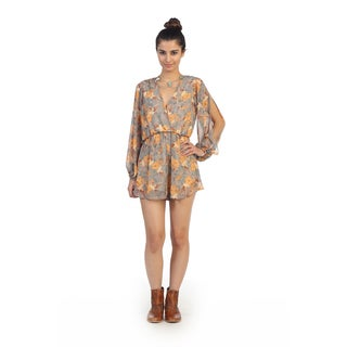 Hadari Juniors Orange Floral Print V-neck Short Romper