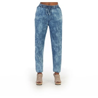 Hadari Women's Washed Blue Denim Pants