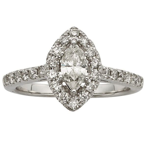 Sofia 14k White Gold 1ct TDW Certified Marquise-cut Diamond Engagement Ring (H-I, I1-I2)