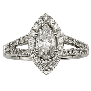 Sofia 14k White Gold 1 1/2ct TDW Marquise White Diamond Halo Engagement Ring (H-I, I1-I2)