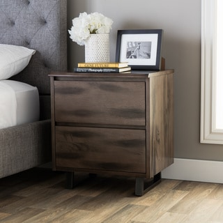 Live Edge Rustic Wood 2-drawer Nightstand