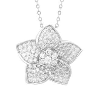 La Preciosa Sterling Silver Micro Pave Cubic Zirconia Flower Pendant Necklace