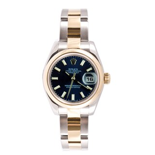 Pre-owned Rolex Women's Datejust Steel and Gold Oyster Blue Stick Dial Watch