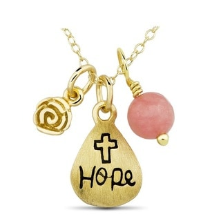 Yellow Goldplated Sterling Silver Hope and Cross Charm Necklace