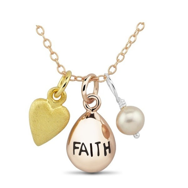 Rose Goldplated Sterling Silver Faith and Pink Bead Charm Necklace