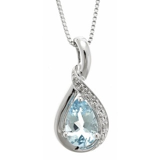 D'Yach Sterling Silver Brazilian Aquamarine and Diamond Accent Pendant