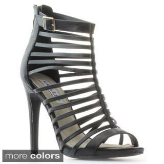 Kayleen Women's Devin-1 Strappy Gladiator Buckle Heel Sandals