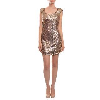 Aidan Mattox Women's Copper Sequined Tank Dress