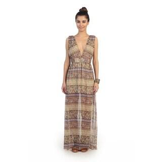 Hadari Juniors Paisley Striped V-neck Maxi Dress
