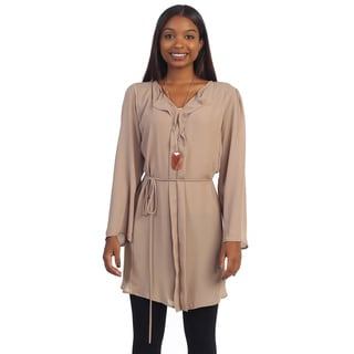 Hadari Women's Taupe Long-sleeve Tunic