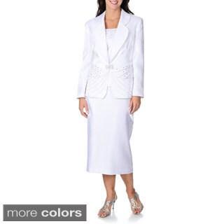 Giovanna Signature Women's Rhinestone Detail 3-piece Skirt Suit