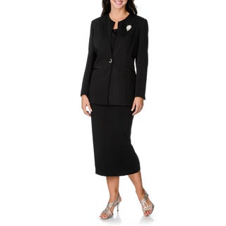 Giovanna Signature Women's Black 3-piece Skirt Suit with Detachable Broach