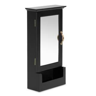 Baxton Studio Julie Black Wall Mount Keycabinet with Mirror