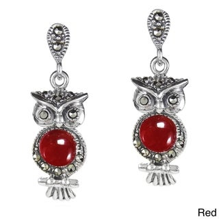 Night Owl Marcasite Stone .925 Silver Drop Earrings (Thailand)