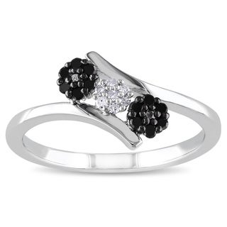 Haylee Jewels Sterling Silver Black and White Diamond Flower Ring