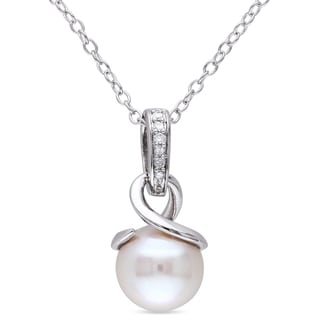 Miadora Sterling Silver White Pearl and Diamond Accent Drop Necklace (8-8.5 mm)