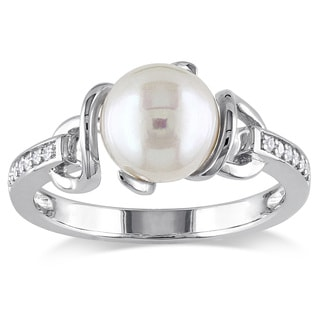 Miadora Sterling Silver Freshwater White Pearl and Diamond Accent Ring (8-8.5 mm)