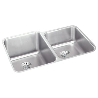 Elkay Gourmet (Lustertone) Stainless Steel Double Bowl Undermount Sink Kit