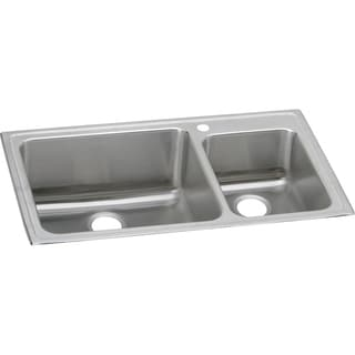 Elkay Gourmet (Lustertone) Stainless Steel Double Bowl Top Mount Sink