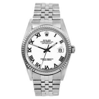 Pre-owned Rolex Men's Datejust Stainless Steel White Dial Automatic Watch