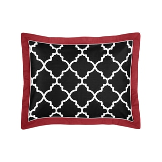 Sweet Jojo Designs Trellis Red/ Black/ White Lattice Print Pillow Sham