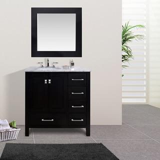 36-inch Malibu Espresso Single Sink Bathroom Vanity With 35-inch Mirror