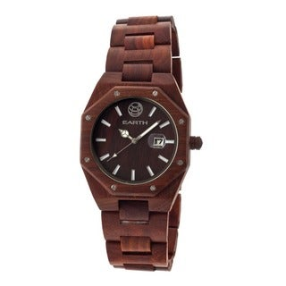 Earth Men's Medullary Ray Red Wood Analog Watch