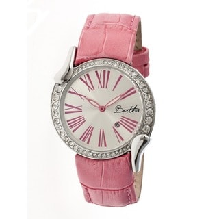 Bertha Women's Olive Silver Leather Light Pink Analog Watch