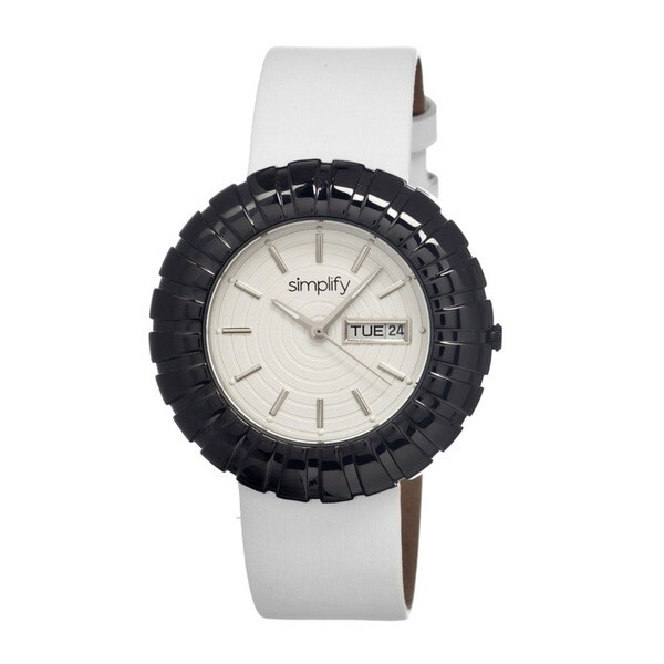 Simplify Women's The 2100 White Leather White Analog Watch