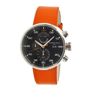 Giorgio Fedon 1919 Men's Speed Timer Iv OrangeLeather Black Analog Watch