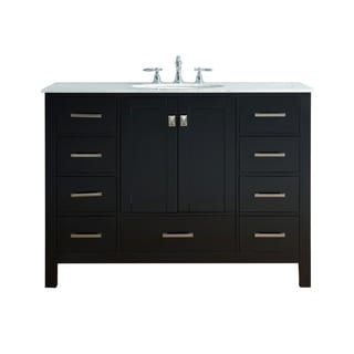 48-inch Malibu Espresso Single Sink Bathroom Vanity with Carrara Marble Top