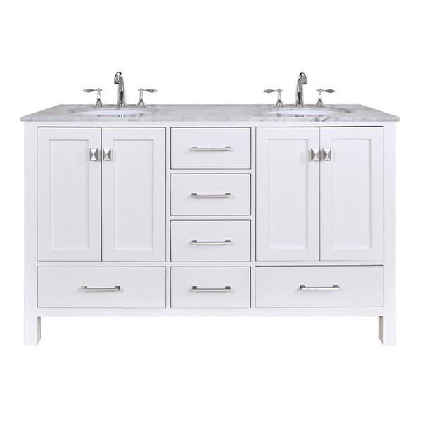 60 Inch Malibu Pure White Double Sink Bathroom Vanity With Carrara Marble Top