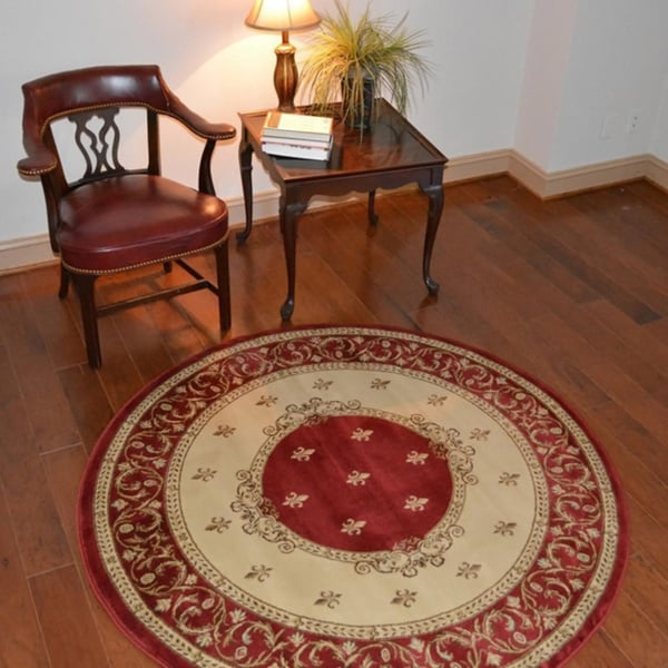 Traditional Medallion Fleur Red Area Rug (5'3 Round)