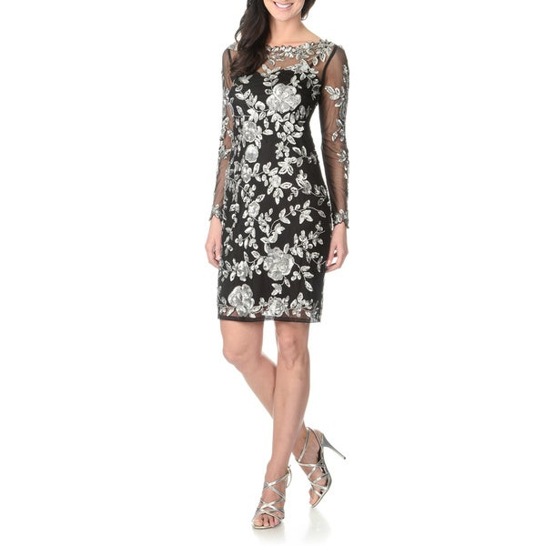 Patra Women's Long Sleeve Sequin Embellished Dress Black/ Silver, Size 12 (As Is Item)