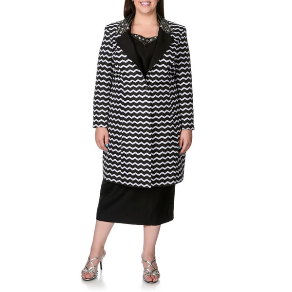 Giovanna Signature Women's Plus Chevron Embellished 3-piece Skirt Suit