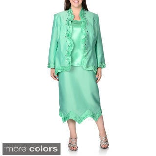 Giovanna Signature Women's Plus Ruffle / Rhinestone 3-piece Skirt Suit