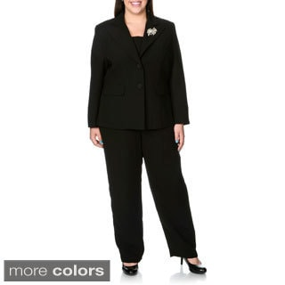 Giovanna Signature Women's Plus 2-piece Washable Pant Suit with Broach