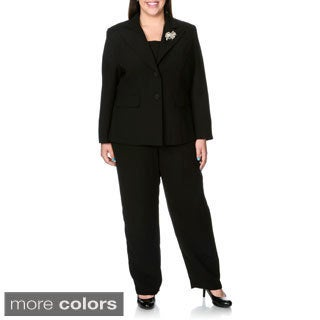 Giovanna Signature Women's Plus 2-piece Pant Suit with Broach