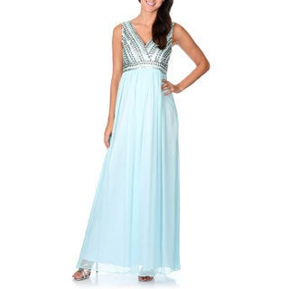 Decode 1.8 Women's Baby Blue Embellished V-neck Evening Dress